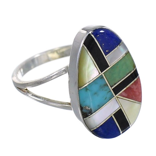 Multicolor Inlay Southwest Sterling Silver Ring Size 6 QX77807