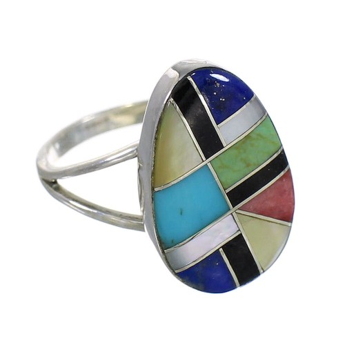 Southwest Multicolor Inlay Silver Ring Size 5-1/4 QX77824