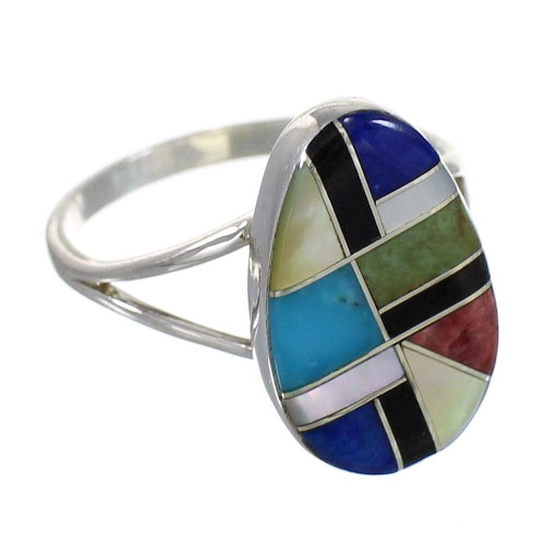 Southwestern Multicolor Inlay Authentic Sterling Silver Ring Size 8-1/2 QX77832