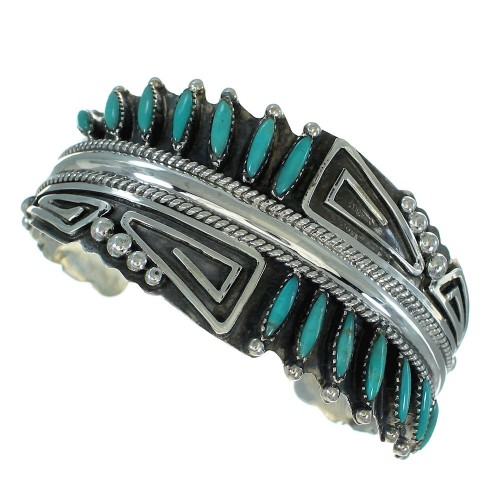 Authentic Sterling Silver Turquoise Needlepoint Water Waves Cuff Bracelet RX78384