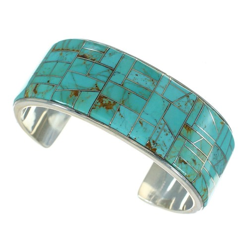 Southwest Turquoise Inlay Silver Cuff Bracelet AX77999