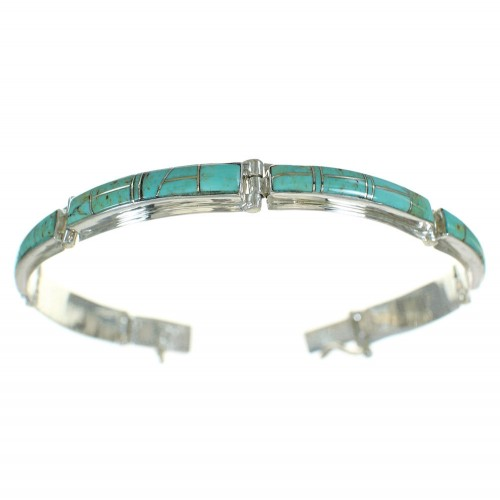 Silver Southwestern Turquoise Inlay Link Bracelet AX78061