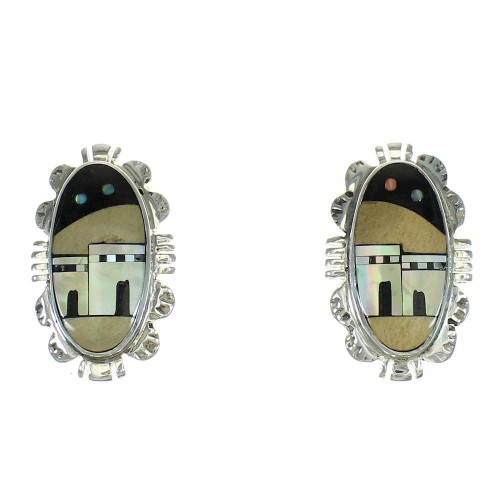 Native American Village Design Multicolor Sterling Silver Post Earrings AX81238