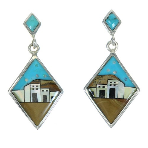 Native American Pueblo Design Multicolor Silver Post Dangle Earrings AX81250