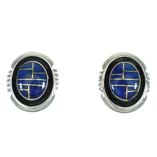 Sterling Silver Lapis Inlay Southwest Post Earrings RX65259
