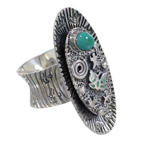 Turquoise And Sterling Silver Southwestern Water Wave Bear Ring Size 7-1/2 WX81025