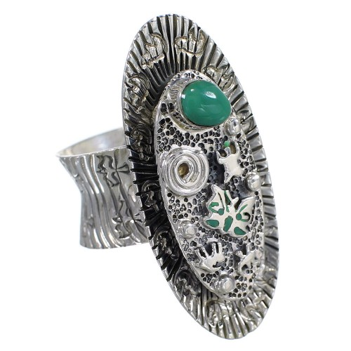 Southwestern Turquoise Silver Butterfly Bear Ring Size 7 WX81045
