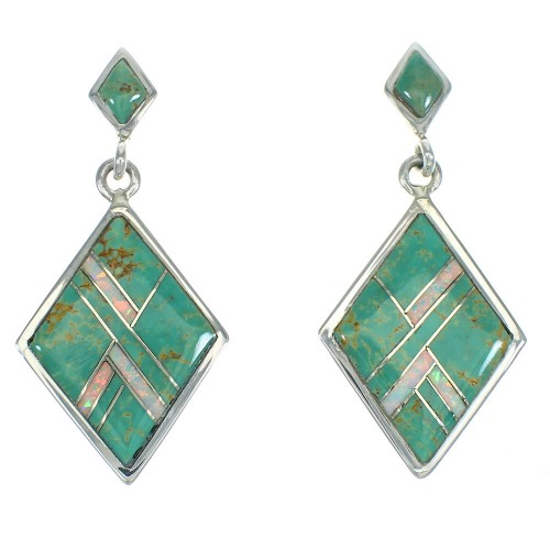 Southwest Turquoise And Opal Sterling Silver Post Dangle Earrings WX66482