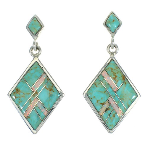 Southwest Opal And Turquoise Sterling Silver Post Dangle Earrings WX66484