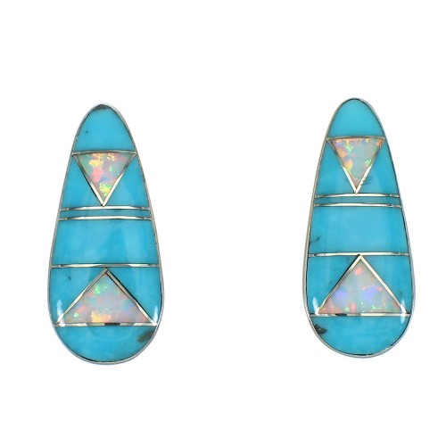 Silver Opal And Turquoise Southwest Post Earrings WX66547