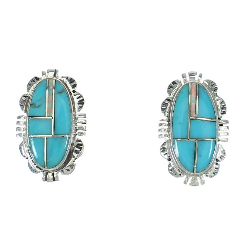 Turquoise And Opal Inlay Southwestern Sterling Silver Post Earrings WX66568