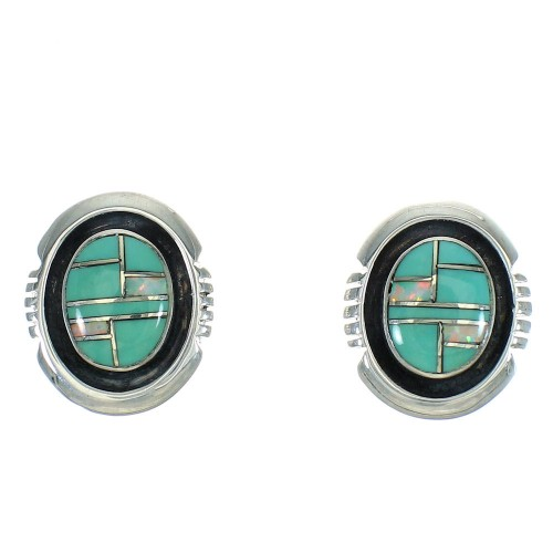 Sterling Silver Turquoise And Opal Inlay Southwest Post Earrings WX66574