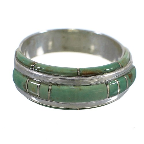 Southwest Sterling Silver Turquoise Inlay Ring Size 5-3/4 YX81337
