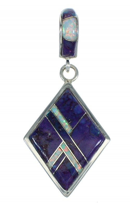 Southwest Authentic Sterling Silver Magenta Turquoise And Opal Pendant VX65486
