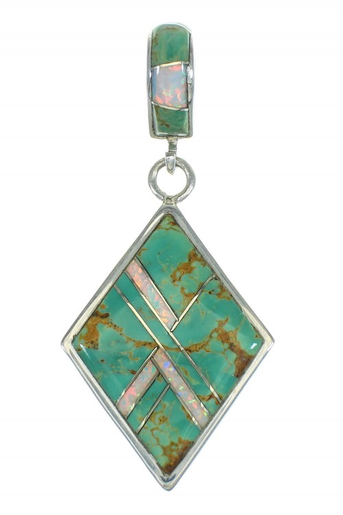 Authentic Sterling Silver Turquoise And Opal Slide Pendant VX65498