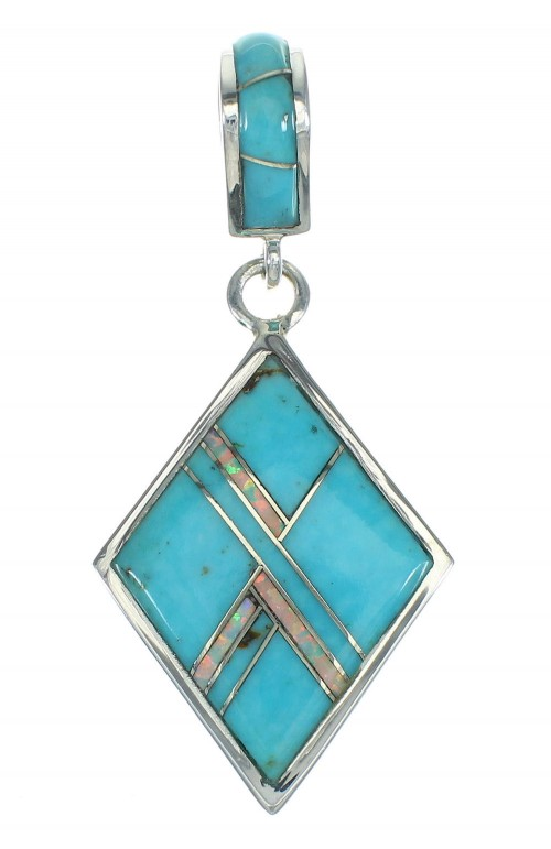 Authentic Sterling Silver Turquoise And Opal Southwest Slide Pendant VX65504