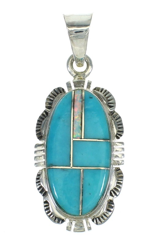 Turquoise And Opal Inlay Genuine Sterling Silver Pendant Jewelry VX65543