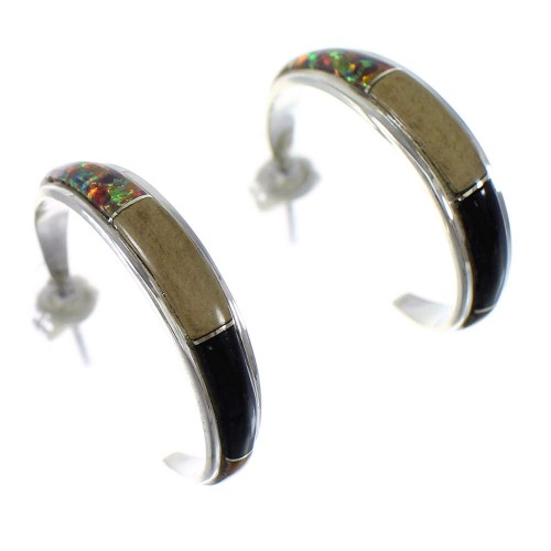 Southwestern Sterling Silver And Multicolor Post Hoop Earrings RX65601