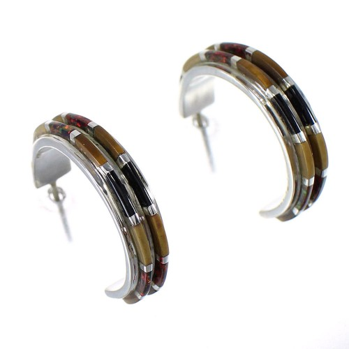 Southwestern Multicolor Authentic Sterling Silver Post Hoop Earrings RX65607