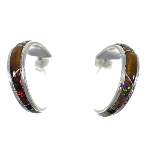 Multicolor Genuine Sterling Silver Post Hoop Earrings RX65646