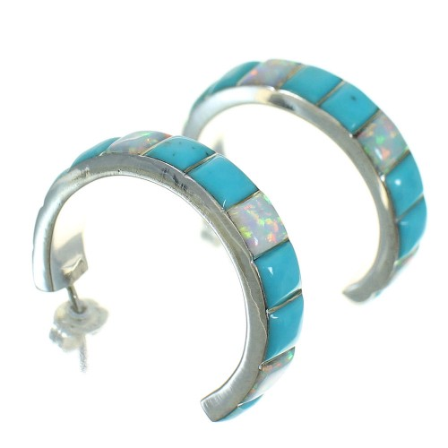 Southwest Sterling Silver Opal And Turquoise Post Hoop Earrings WX66254