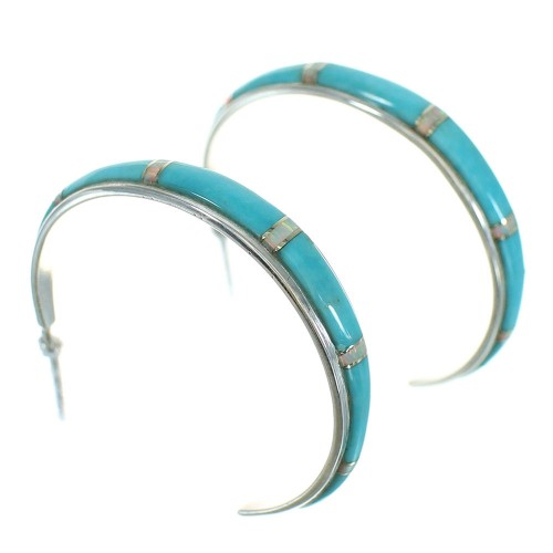 Turquoise And Opal Inlay Silver Southwest Post Hoop Earrings WX66396