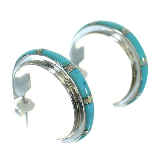 Sterling Silver Turquoise And Opal Jewelry Post Hoop Earrings WX66418