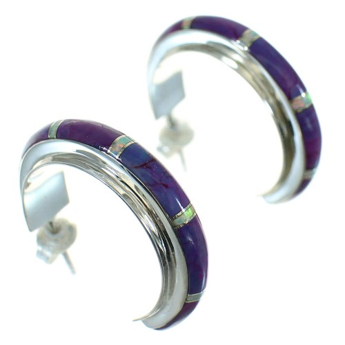 Southwest Magenta Turquoise Opal Inlay Sterling Silver Post Hoop Earrings RX66320