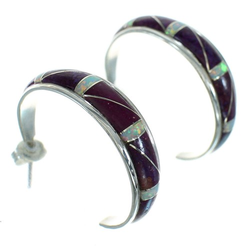 Magenta Turquoise And Opal Southwest Sterling Silver Post Hoop Earrings RX66400