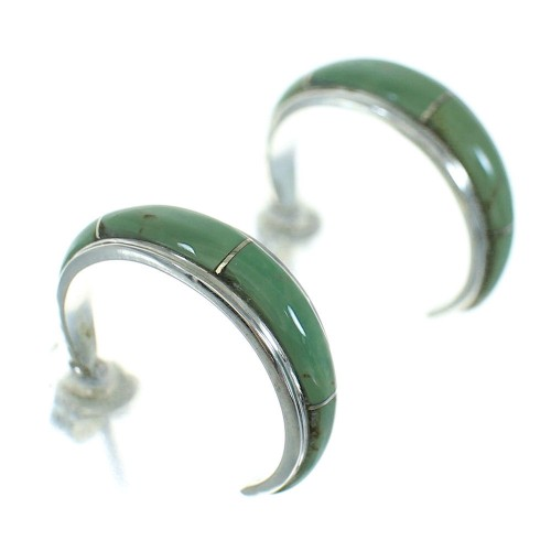 Authentic Sterling Silver Turquoise Post Hoop Earrings AX66196