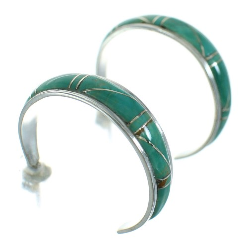 Silver Turquoise Jewelry Post Hoop Earrings AX66202