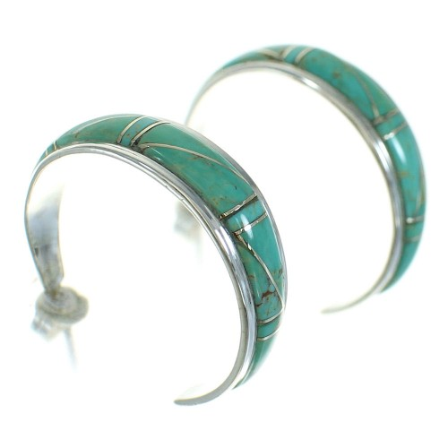Turquoise Inlay Jewelry Silver Post Hoop Earrings AX66206
