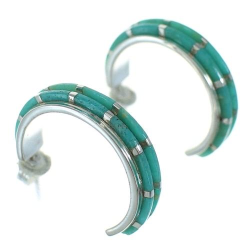 Silver Turquoise Inlay Southwestern Post Hoop Earrings AX66247