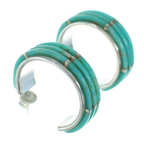 Sterling Silver Southwest Turquoise Post Hoop Earrings AX66252