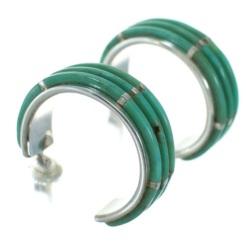 Turquoise Inlay Silver Post Hoop Earrings AX66255