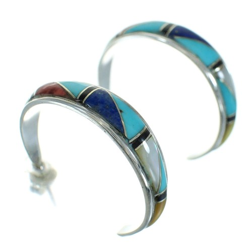 Multicolor Authentic Sterling Silver Post Hoop Earrings RX66302