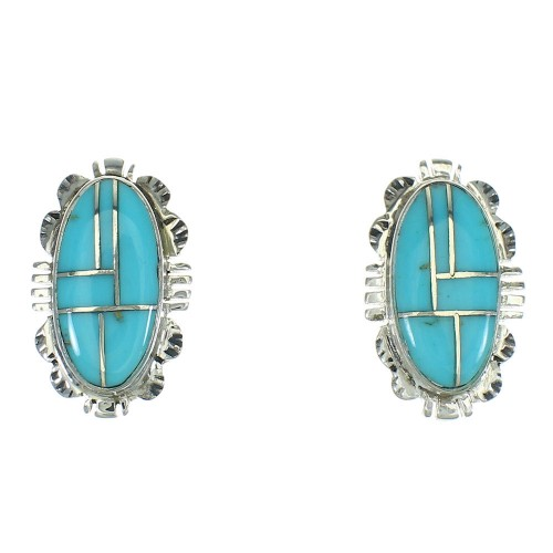Southwest Turquoise Inlay And Sterling Silver Post Earrings WX73926