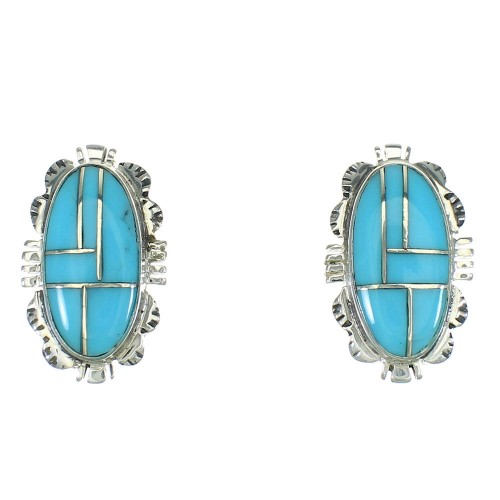 Southwestern Turquoise Inlay And Sterling Silver Post Earrings WX73929