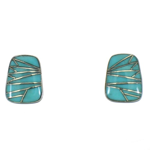 Turquoise And Genuine Sterling Silver Southwestern Post Earrings WX73953