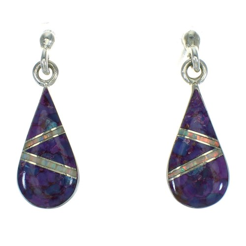 Sterling Silver Southwest Magenta Turquoise Opal Tear Drop Inlay Post Dangle Earrings RX66430
