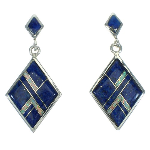 Authentic Sterling Silver Southwest Lapis Opal Post Dangle Earrings RX66452