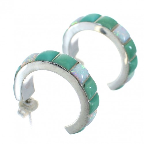 Turquoise Opal Inlay Authentic Sterling Silver Post Hoop Earrings RX66024