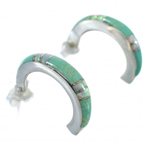Sterling Silver Turquoise And Opal Post Hoop Earrings RX66030