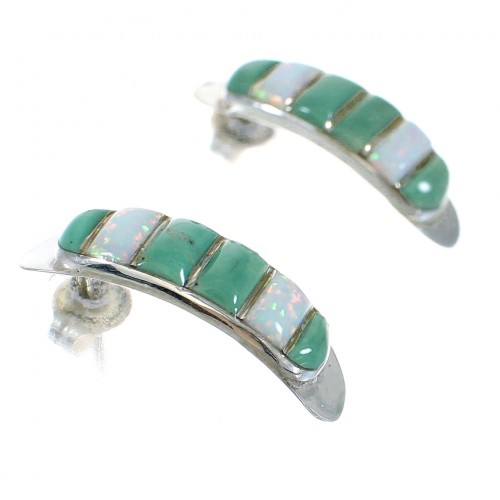 Southwestern Turquoise Opal Inlay Sterling Silver Post Hoop Earrings RX66106