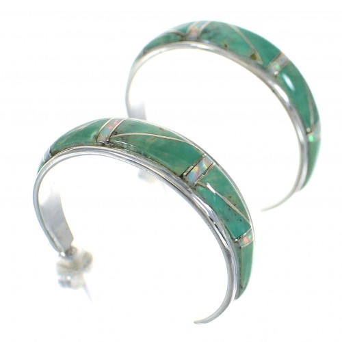 Authentic Sterling Silver Turquoise And Opal Southwestern Post Hoop Earrings RX66205