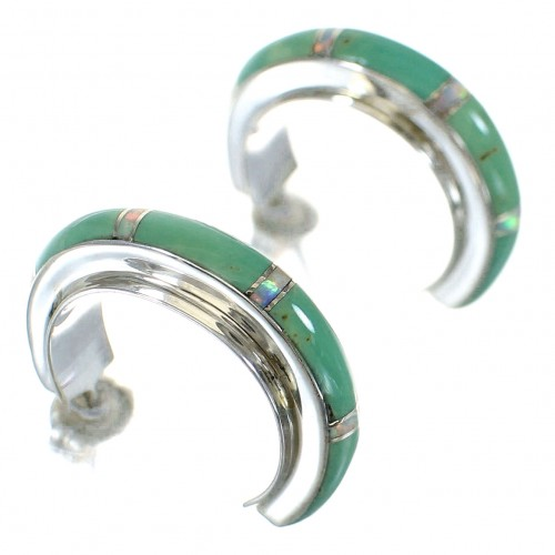 Authentic Sterling Silver Turquoise Opal Post Hoop Earrings RX66215