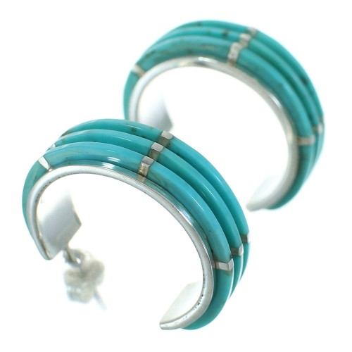 Southwest Silver Turquoise Inlay Post Hoop Earrings AX66345
