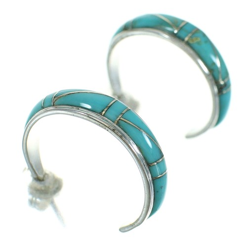 Southwestern Silver Turquoise Inlay Post Hoop Earrings AX66346