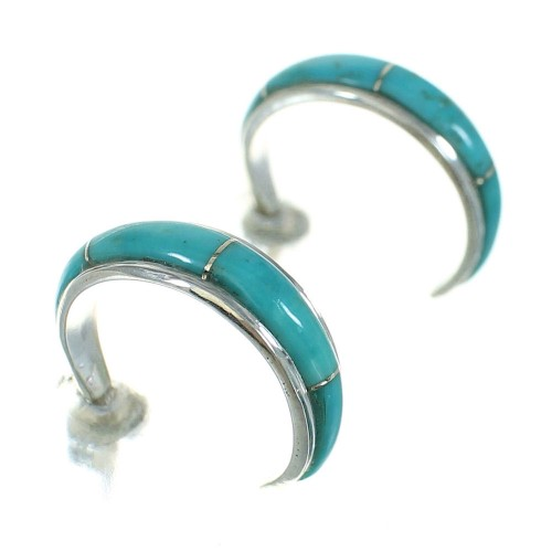 Southwest Silver Turquoise Post Hoop Earrings AX66349