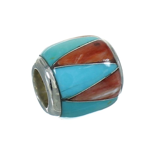 Turquoise And Oyster Shell Sterling Silver Southwest Bead Pendant RX65953